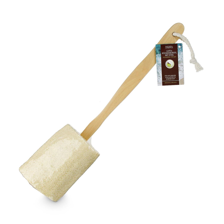 Natural-Lifestyle Loofah Brosse pour le dos, avec manche–Brosse de bain avec éponge brosse dos et manche amovible–avec éponge Nature & Life GmbH
