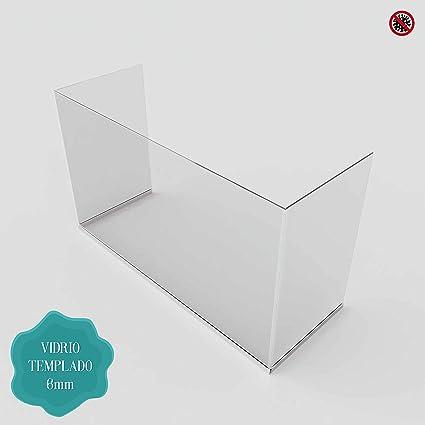 Pantalla de Protección - Mampara Sanitaria - Para Mostrador y Mesas oficina - Cristal templado de 6 mm. (100 x 80 X 35 cm) Posibilidad de Medidas Personalizadas Consultar.: Amazon.es: Oficina y papelería
