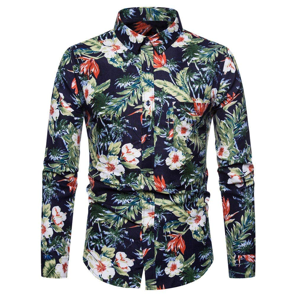 GREFER Men's Shirts New Spring Summer Fashion 3D Printed Regular-Fit Long Sleeve Top Blouse Green