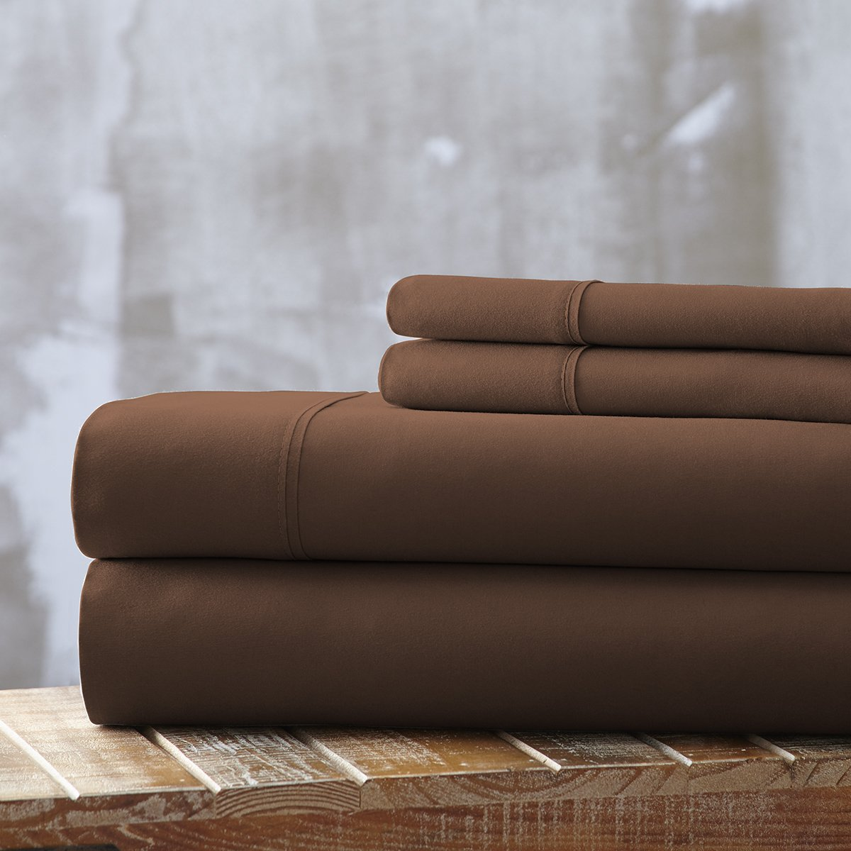 Spirit Linen, Inc Hotel 5th Ave EE-FULL-CHOCOLATE-4PC Full Chocolate Everyday Essentials 1800 Series 4Pc Sheet Set