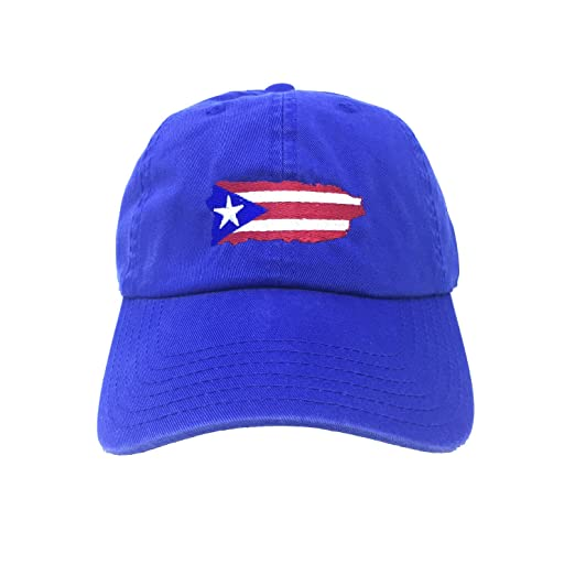 21f0f238195cc Image Unavailable. Image not available for. Color  Flag Puerto Rico Island  Blue Adjustable Strapback Cap Dad Hat