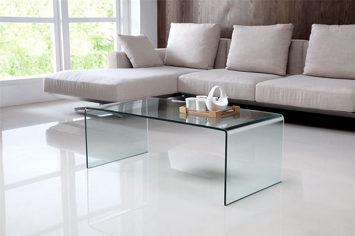 Long Clear Bent Glass Coffee Table Amazoncouk Kitchen Home