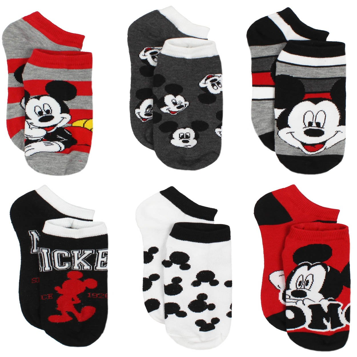 Mickey and Minnie Mouse 6 pack Socks (Toddler/Little Kid/Big Kid/Teen/Adult) manufacturer