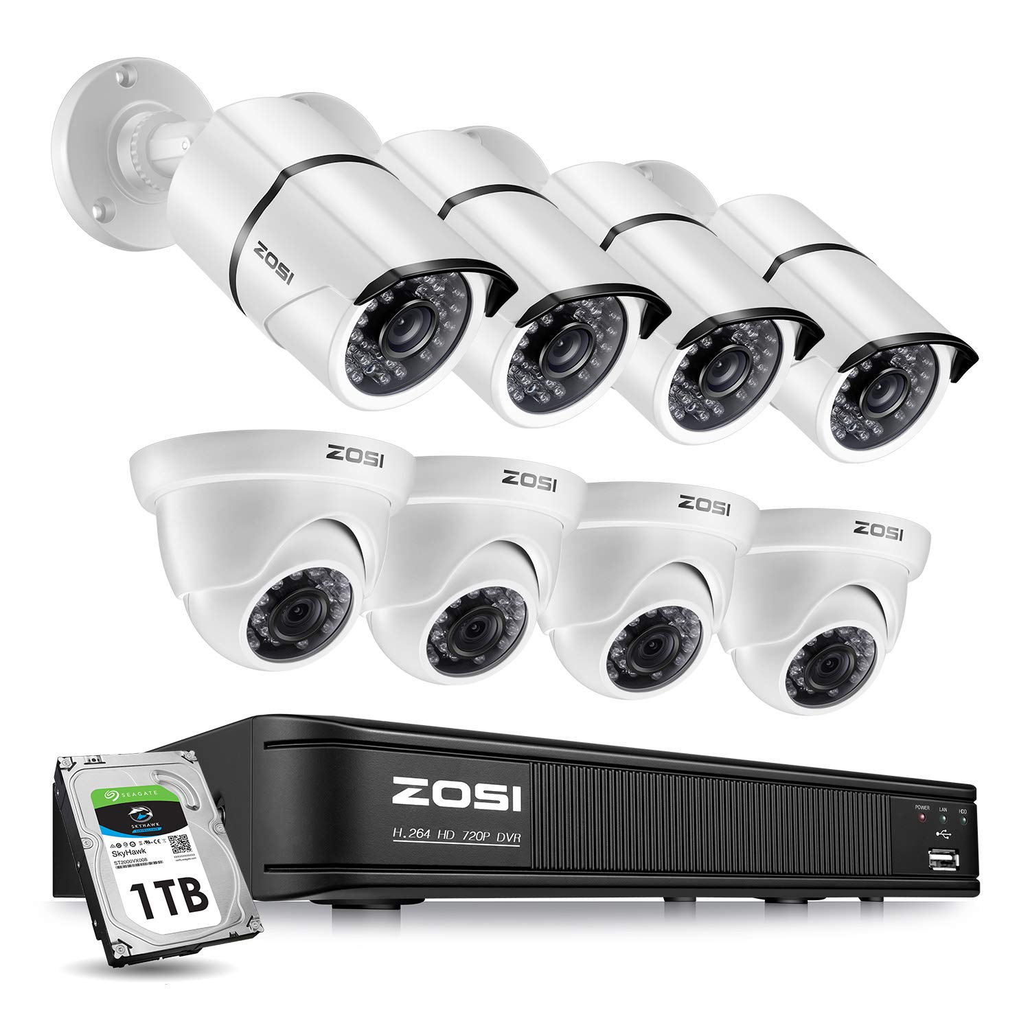 ZOSI Security Camera System 8 Channel,1080p Lite Surveillance DVR Recorder  with Hard Drive 1TB and (8) 720p Weatherproof CCTV Camera
