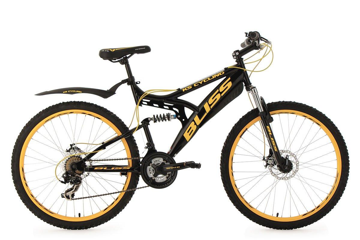 KS Cycling Fahrrad Mountainbike Fully Bliss, Schwarz/Gold, 26 Zoll ...