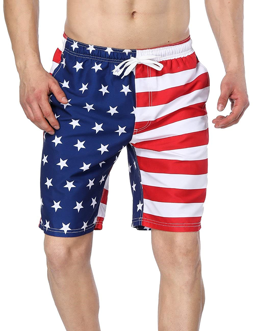 V FOR CITY Men's Solid Jammer Swimsuit Splice Durable Swim Suit Competition Bathing Suit