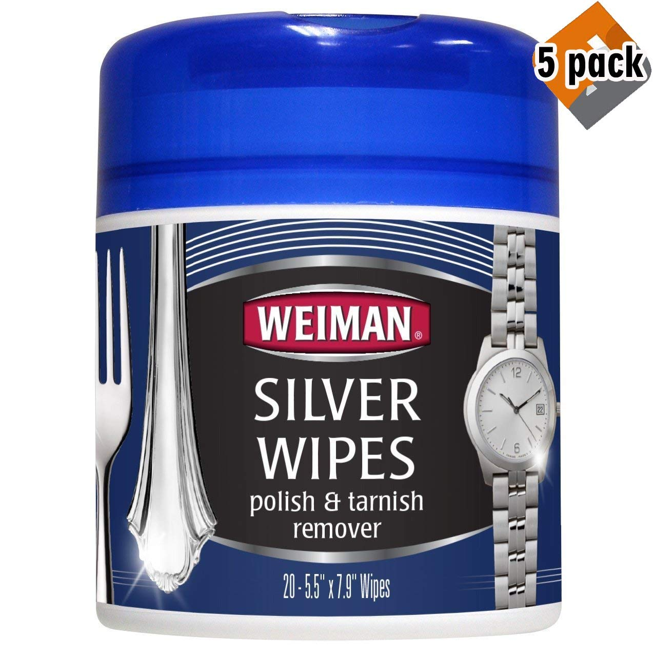 Silver Wipes - Jewelry Wipes - Cleaner and Polisher for Silver Jewelry Sterling Silver Silver Plate and Fine Antique Silver - 20 Count - Ammonia Free - 5-Pack