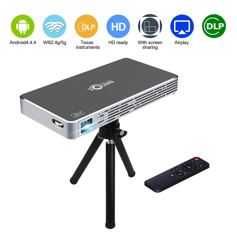 Mini Proiettore DLP Super PDR Videoproiettore LED, Proiettore Video Multimedia Home Theater con Supporto 1080P (WiFi, Bluetooth 4.0, built-in batteria ricaricabile al litio, treppiede, ingressi HDMI / USB / Micro SD / 3,5mm audio) [Classe di efficienza ene