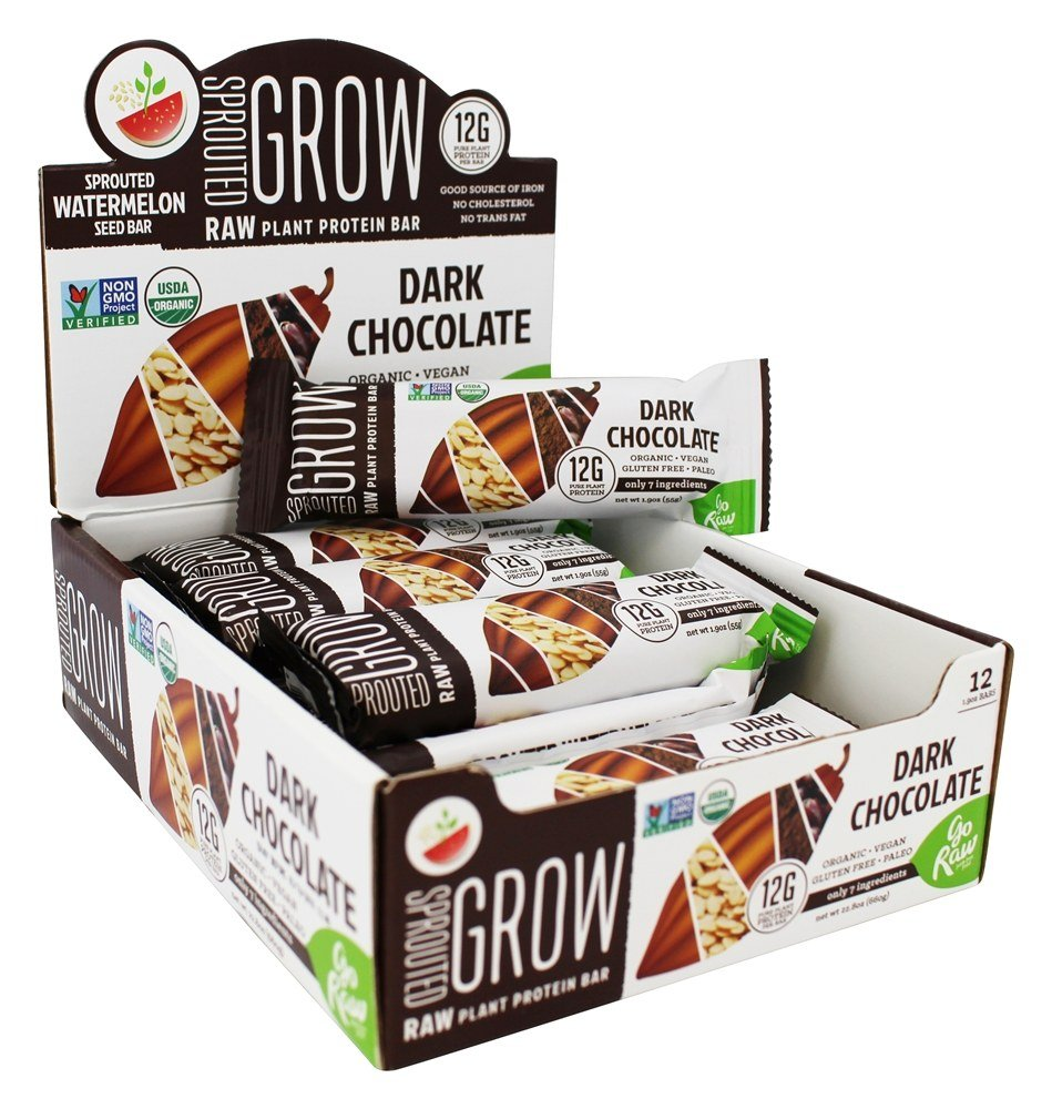 Go Raw - Organic Sprouted Plant Protein Bars Dark Chocolate - 12 Bars by Go Raw (Image #1)