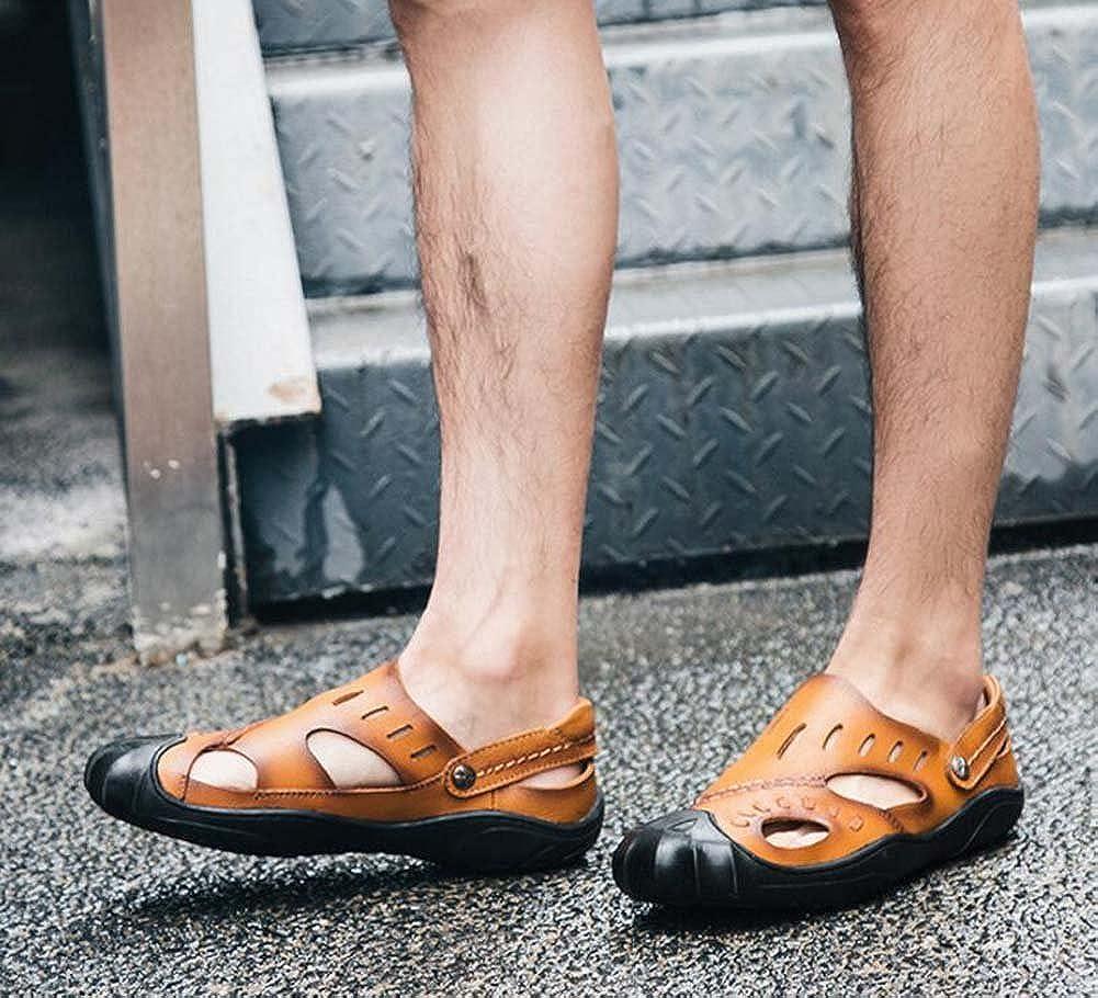 MYI Herrenschuhe Sommer Rindsleder Anti-Rutsch-Mode Sandalen Casual Outdoor Gelb Beach Sandalen und Hausschuhe Gelb Outdoor 3c4b40