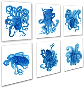 Blue Octopus Decor Art Prints Set of 6 Unframed Kids Bathroom Decor by Gnosis Picture Archive