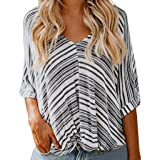 Women's Striped Print Shirt, Sharemen Half-Neck T-Shirt V-Neck Loose Casual Chiffon Top