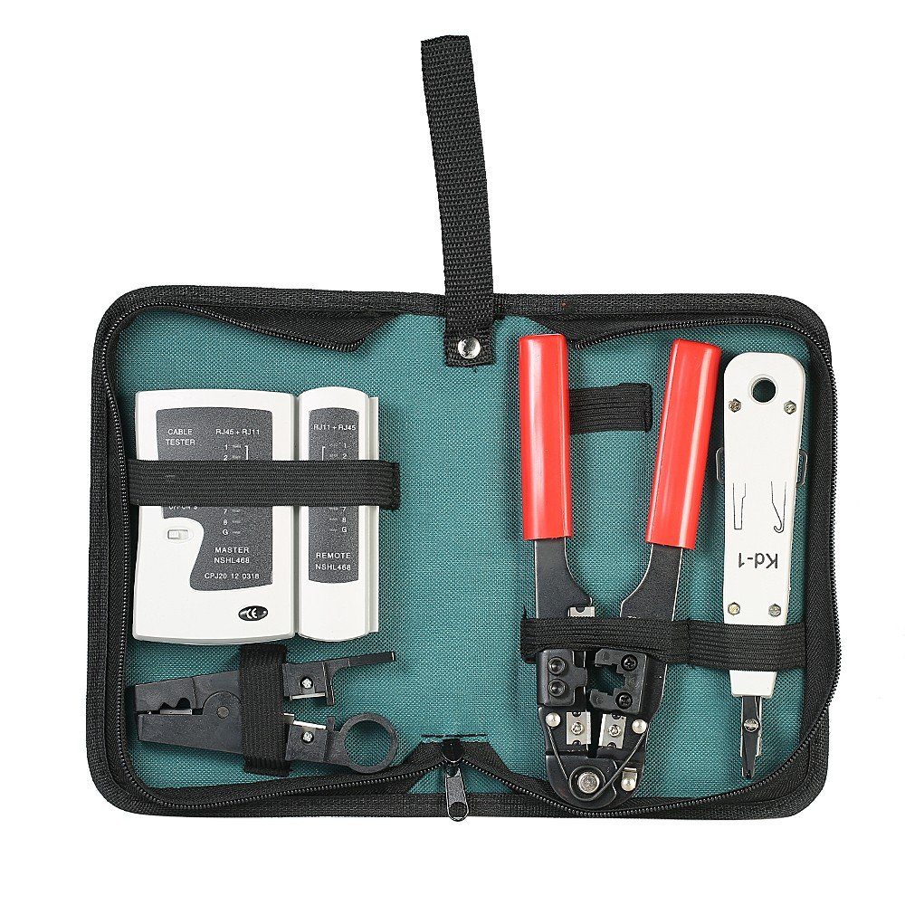 HooGels 5 in 1 Network Cable Repair Kit - Wire Crimping Pliers & Network Cable Tester & Punch Tool & Stripping Wire Knife, Professional Network Repair Tool Box with Storage Pouch