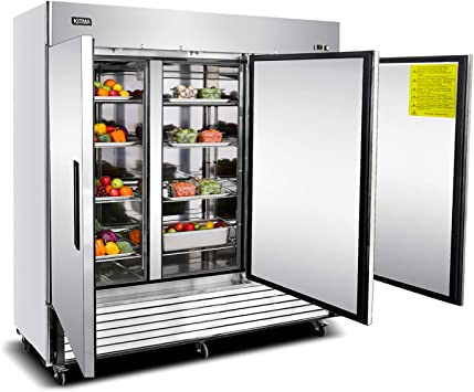 Amazon Com Commercial Freezer With 3 Doors Kitma Bottom Mount Freezer In Stainless Steel With 9 Adjustable Shelves 72 Cu Ft Kitchen Dining