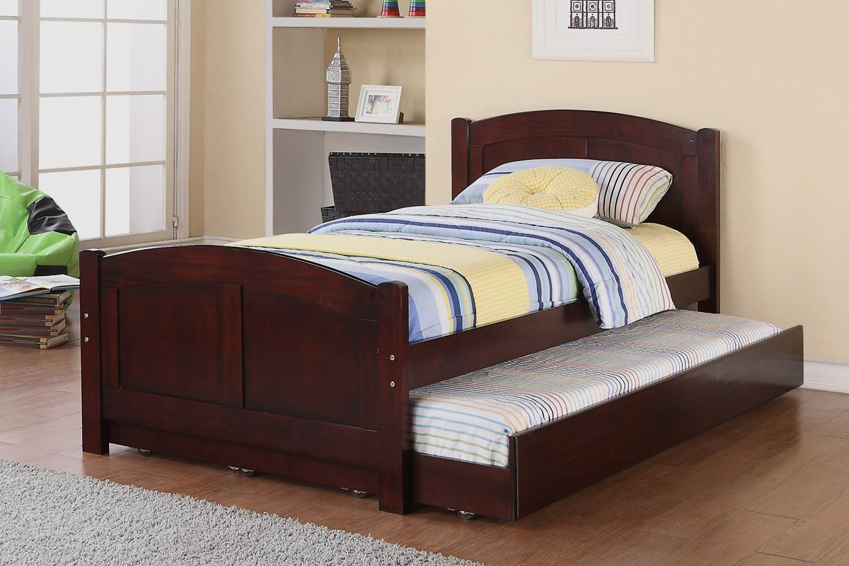 Amazon Com Twin Bed With Trundle In Cherry Wood By Poundex Kitchen Dining
