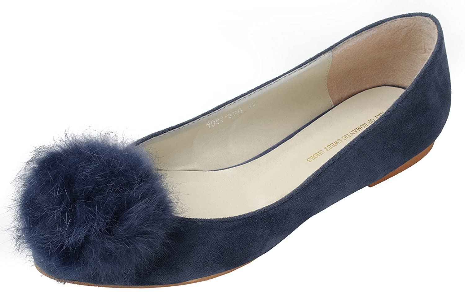 73cdf859075d Womens Fluffy Fur Pom Pom Faux-Suede Ballet Flat Shoes 60%OFF ...