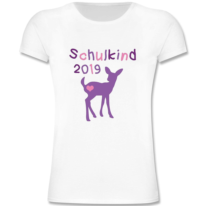 M/ädchen Kinder T-Shirt Einschulung und Schulanfang Schulkind 2019 REH Kitz Lila
