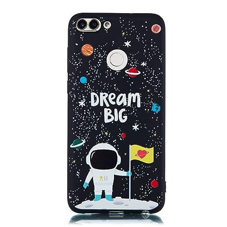CUAgain Funda Compatible con Huawei P Smart 2018 Silicona Dibujos Motivo Negro TPU Kawaii Ultrafina One Piece Carcasa P Smart 2018 Case Antigolpes ...