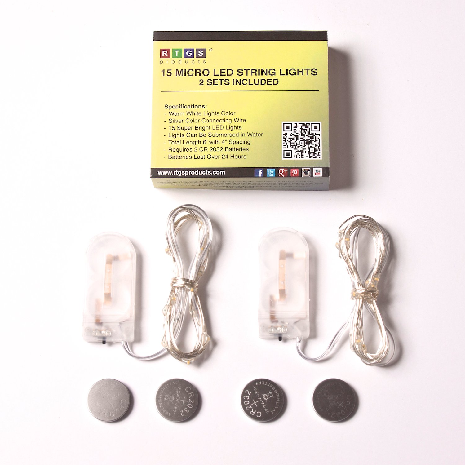 rtgs 2 sets 15 warm white color micro led string