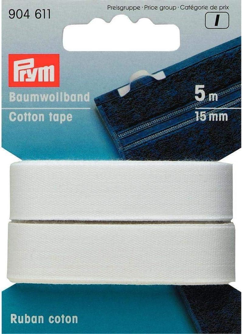Prym Cinta algodón 15 mm Blanca: Amazon.es: Hogar