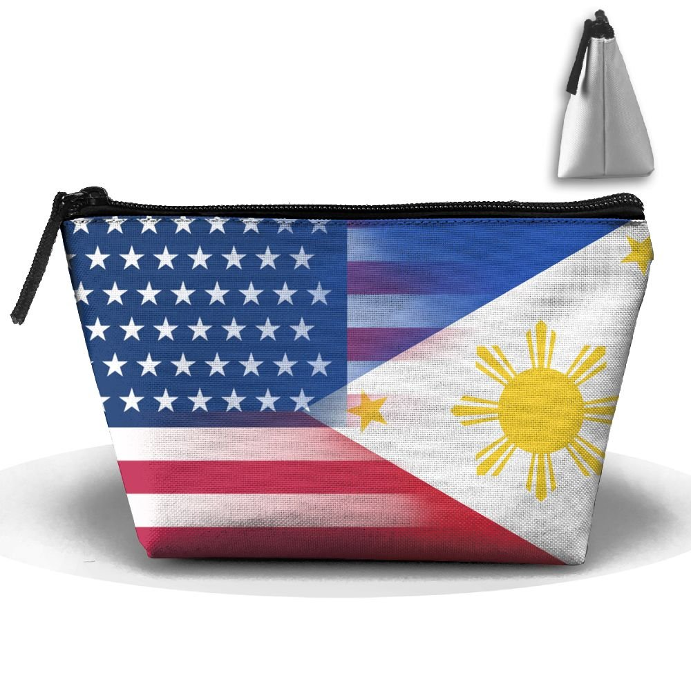 Gingling USA Philippines Flag Makeup Bag Travel Cosmetic