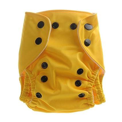 Aivtalk Neonato Bebés Pañal de Tela TPU Transpirable Lavable con Botones Cloth Diaper Absorbente - Amarillo