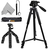 "Xtech Double Tripod Kit with 72"" Inch Tripod + 12"" Flexible Tripod for Nikon Coolpix A900, B500, B700, L840, L830, W300, W100, P900, P610, AW130, AW120, S9900, S9700"