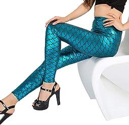 31a8780ebfe KAIYANG Fish Scale Leggings for Women Halloween Cosplay Mermaid Stretch  Skinny Pants S-L