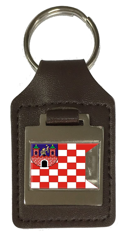 Leather Keyring Engraved Kalisz City Poland Flag