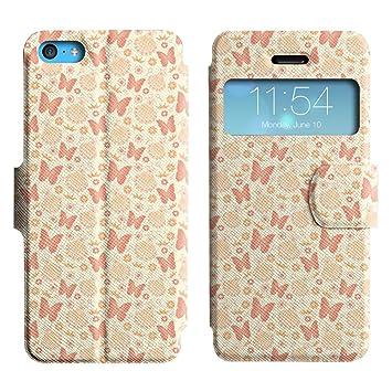 ZECASE Mariposas Grandes Y Sorprendentes Flores Sencilla Vestidos Cartera Funda Carcasa Cuero Tapa Case Para Apple iPhone 5C No.1000822: Amazon.es: ...