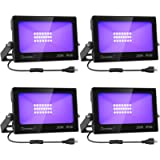 Onforu 4 Pack 20W LED Black Lights, Blacklight Flood Light with Plug and Switch, IP66 Waterproof, Blacklight for Dance…
