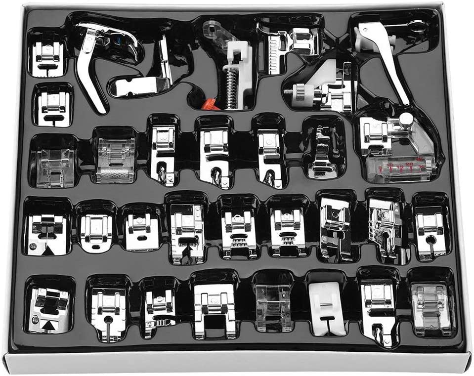 CDIYTOOL Sewing Machine Presser Foot Feet Kit Set,Fits for Brother, Baby Lock, Singer, Elna, Toyota, New Home, Simplicity, Janome, Kenmore, and White Low Shank Sewing Machine (32pcs)