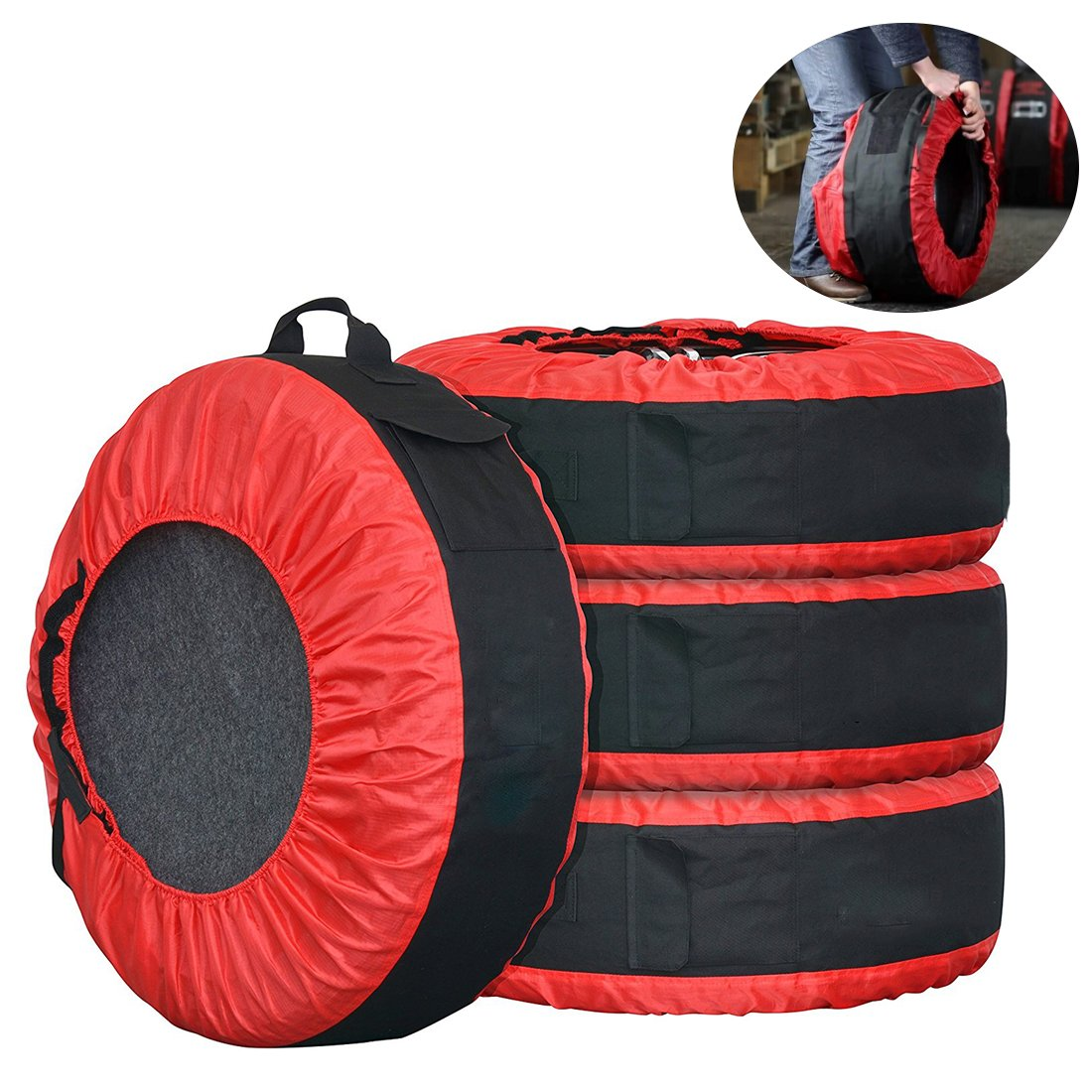 FLR pneumatico Tote regolabile impermeabile grigio 30  in gomma copre borse stagionale tire Storage Bag per auto off Road Truck tire Totes set di 4 WCH AUTO ACCESSORIES LIMITED