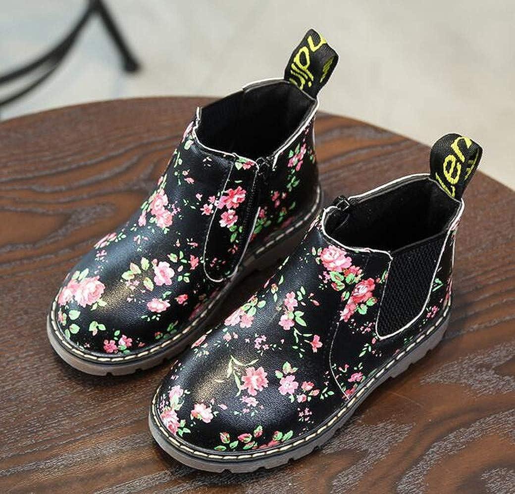 Toddler//Little Kid Bumud Boys Girls Waterproof Side Zipper Short Ankle Boot Cute Casual Shoes