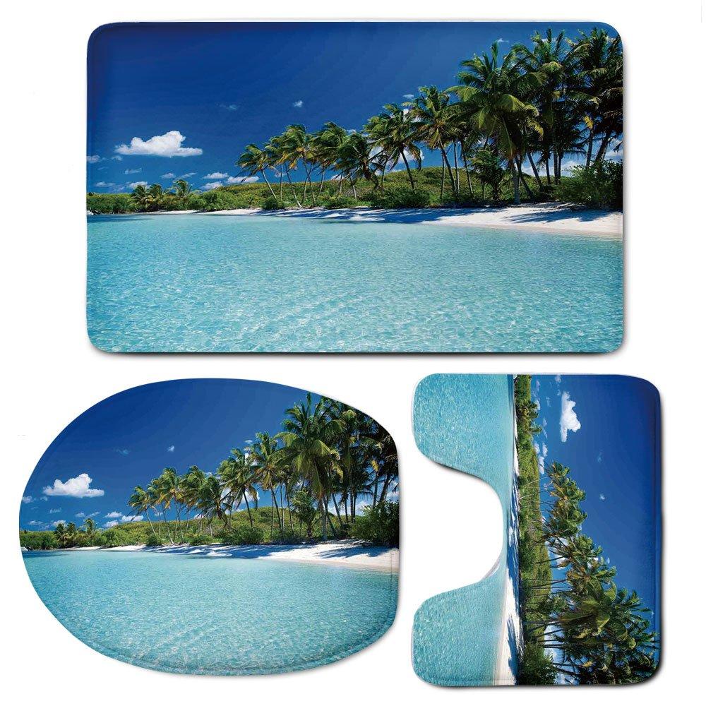 3 Piece Bath Mat Rug Set,Ocean-Decor,Bathroom Non-Slip Floor Mat,Relax-Beach-Resort-Spa-Palm-Trees-and-Sea,Pedestal Rug + Lid Toilet Cover + Bath Mat,