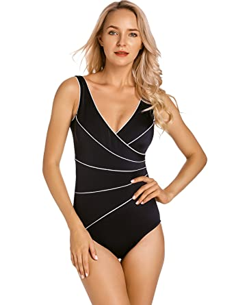 a36742dcae DELIMIRA Women's Slimming Swimwear One Piece Piped Swimsuit Plus Size  Bathing Suit Black US 12