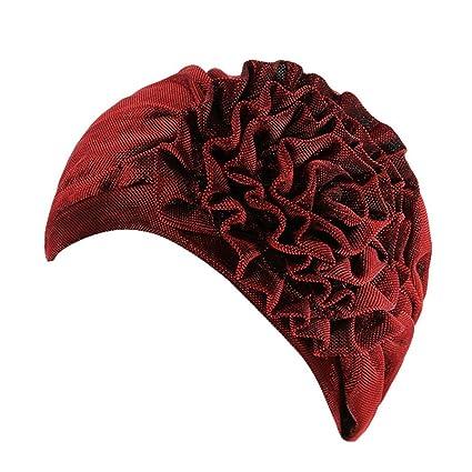Sombrero de mujer con diseño de flores de estilo indio, gorra de Turban, cabeza