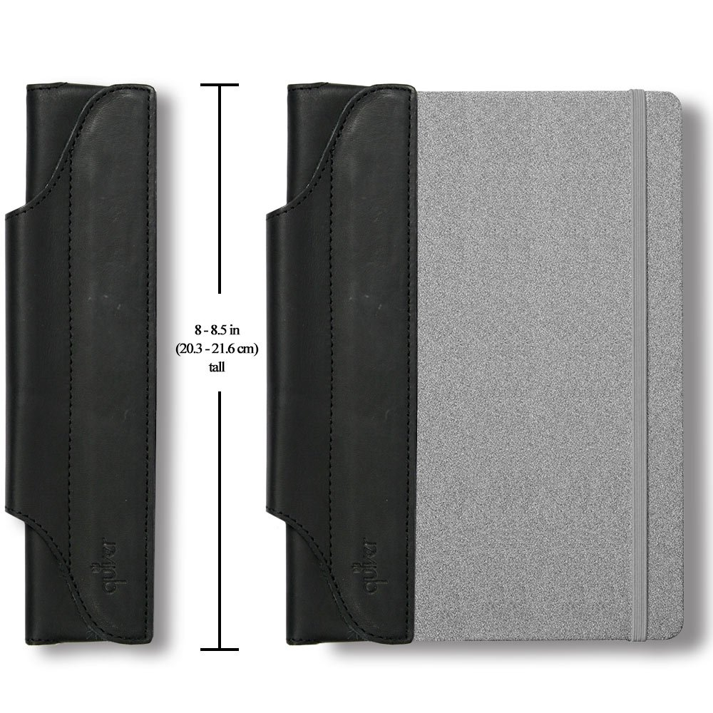 QUIVER Pen Holder for Notebook | Single Pen Holder | Elastic/Reusable/Non-Adhesive | for Use with Moleskine/Leuchtturm1917/AmazonBasics Notebooks 8-8.5 Inches Tall (Black Leather/Black Stitching) by Quiver