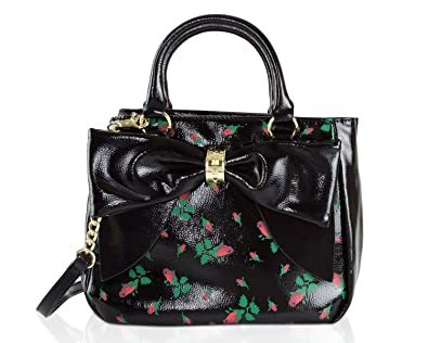 0e626d3d9b4fe Betsey Johnson Rosebud Floral Faux Patent Leather Bag In Bag Bow Trim  Triple Entry Satchel Crossbody