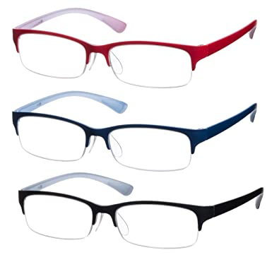 3 - Pack Rectangle Reading Glasses with Matte Plastic Frame and ...