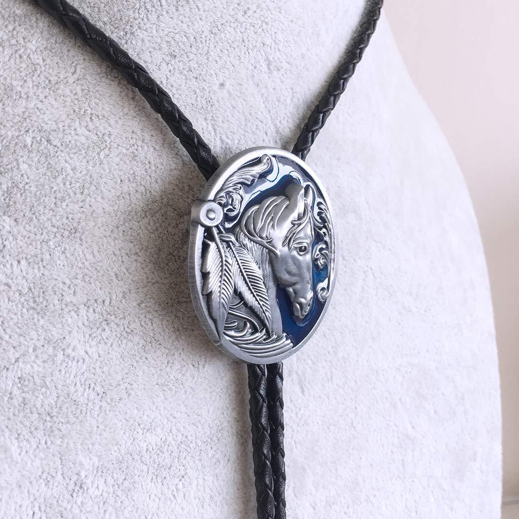 Vintage Blue Enamel Western Horse Head Oval Bolo Tie also Stock in US