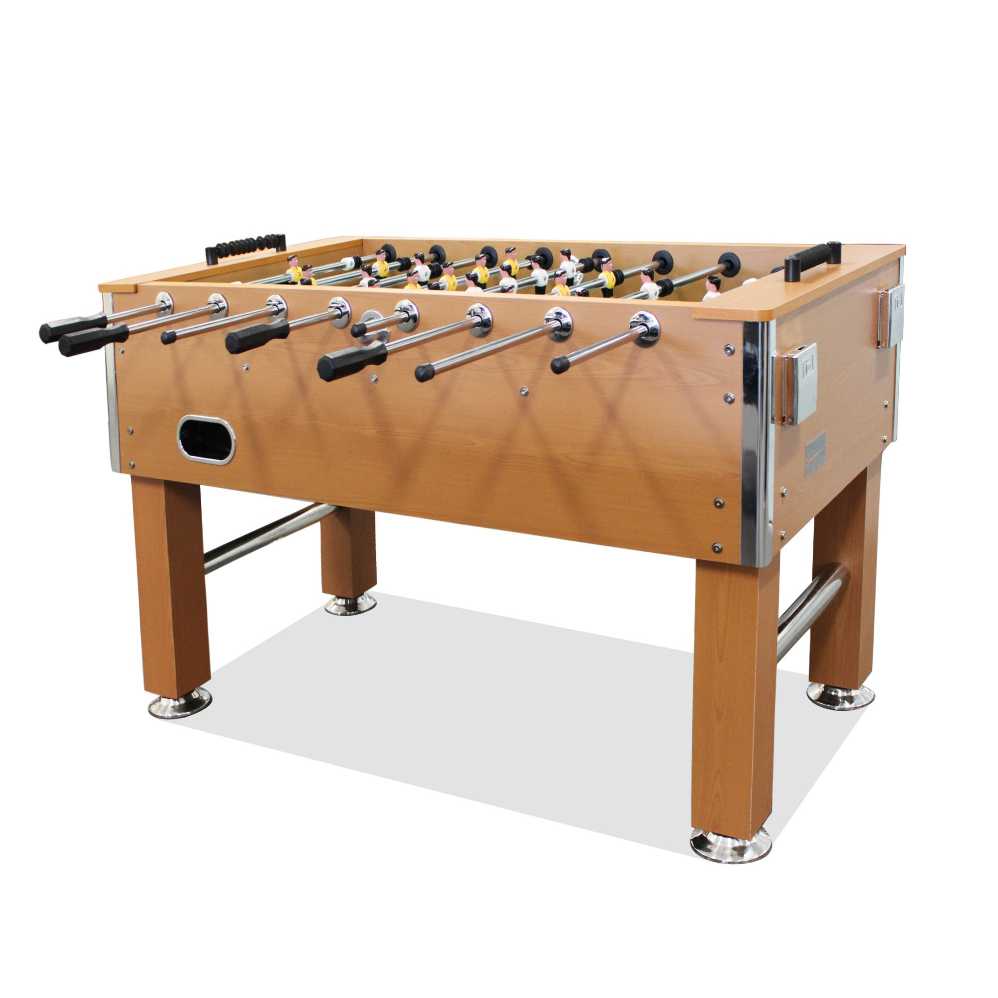 T&R sports 5FT Soccer Foosball Table Heavy Duty for Pub Game Room with Drink Holders, Oak