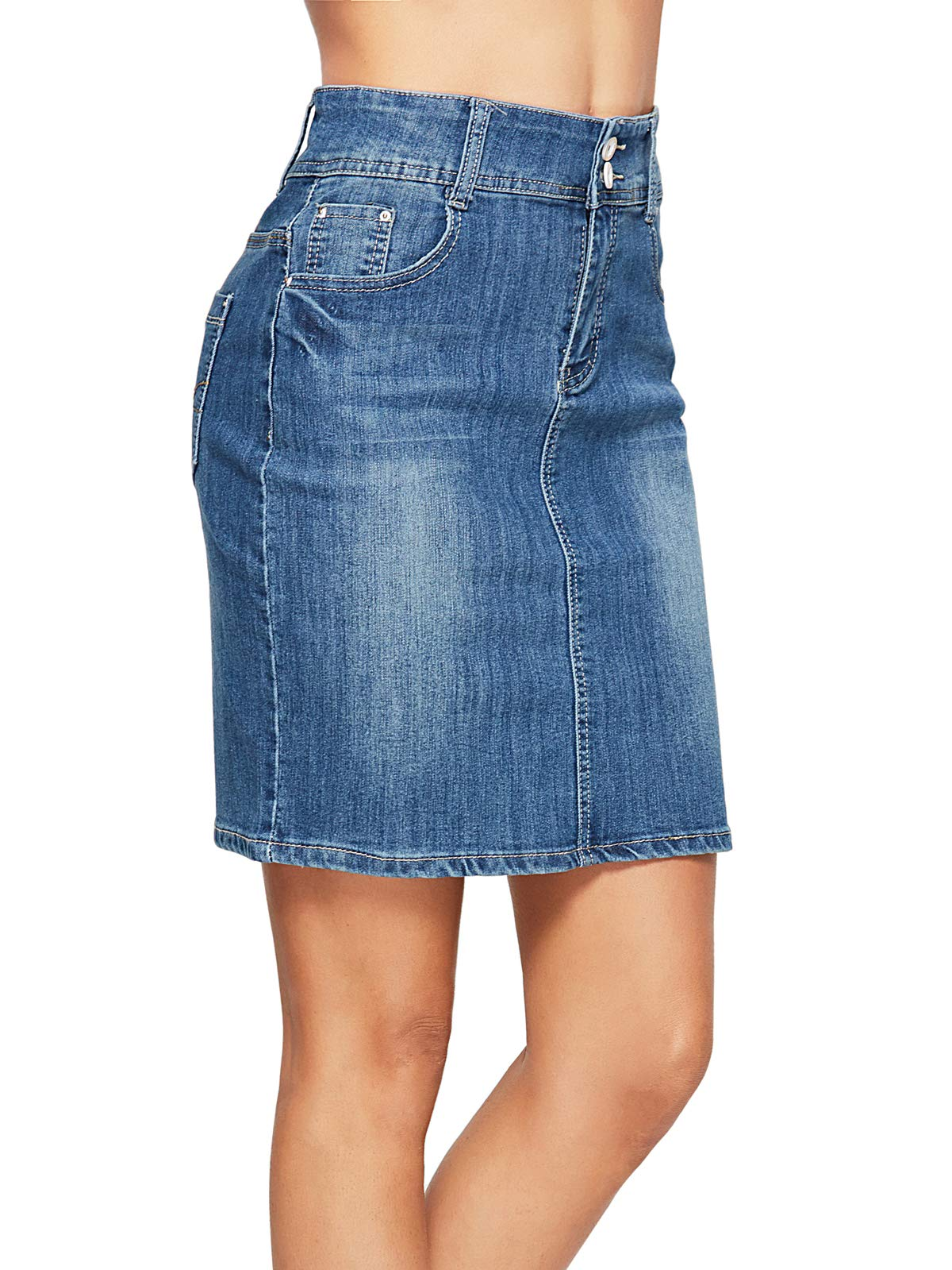 Beluring Womens Denim Jean Midi Pencil Fashion Skirts Knee Length Dark Blue Size 8