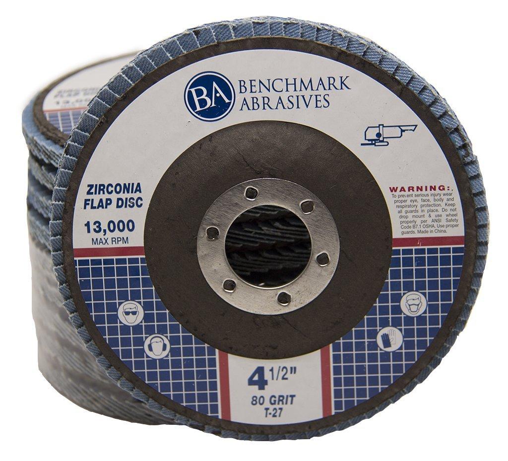4.5'' x 7/8'' Premium Zirconia Flap Discs Grinding Wheels 80 Grit Type 27-10 Pack