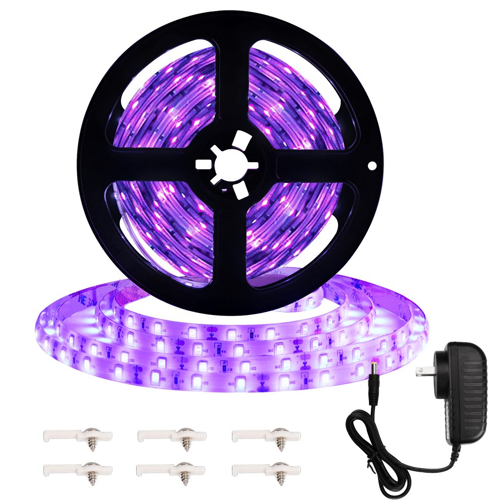 Onforu 16.4ft LED UV Black Light Strip Kit, 12V Flexible Blacklight Fixtures with 300 Units UV Lamp Beads, 24W Non-Waterproof Lights for Indoor Fluorescent Dance Party, Stage Lighting, Body Paint