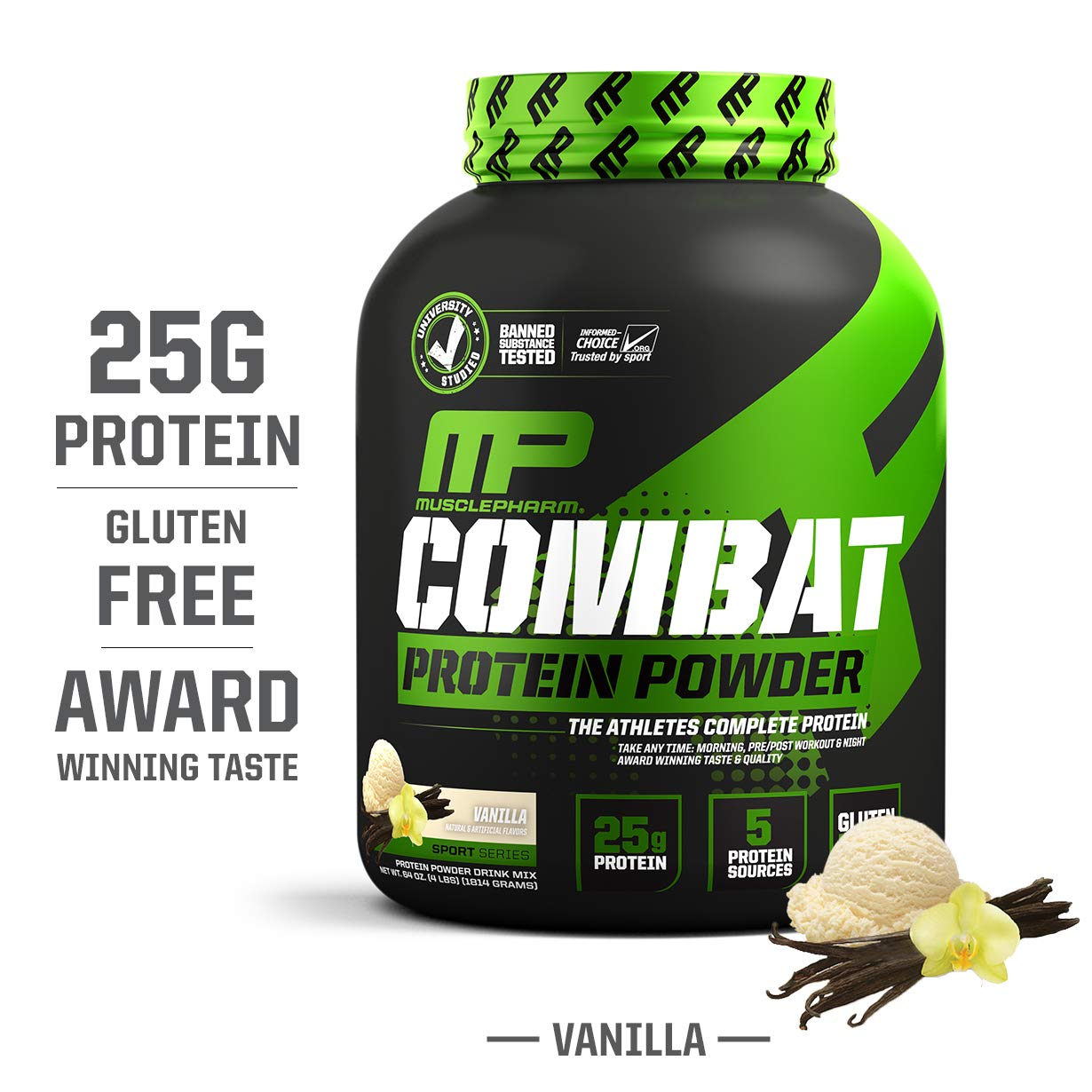 MusclePharm Combat Protein Powder, Essential Whey Protein Powder, Isolate Whey Protein, Casein and Egg Protein with BCAAs and Glutamine for Recovery, Vanilla, 4-Pound, 54 Servings by Muscle Pharm