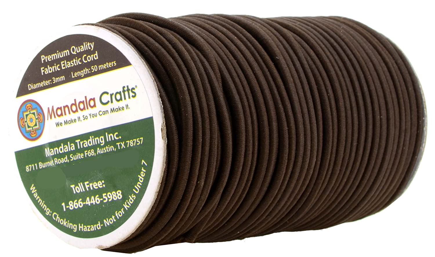 Backpacks Tent Poles; 1//8 Inch 3MM 164 FT Roll by Mandala Crafts Brown Bungee Cord by the Foot Elastic Bungee Rope Shock Cord for Kayaks