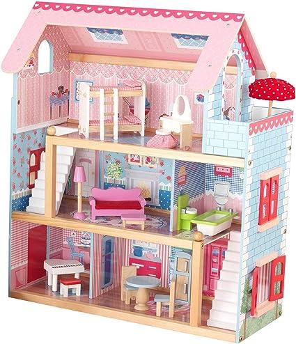 Casa De Muñecas Para Niñas De 3 Niveles Y 5 Dormitorios Ventanas Abren Y Cierran