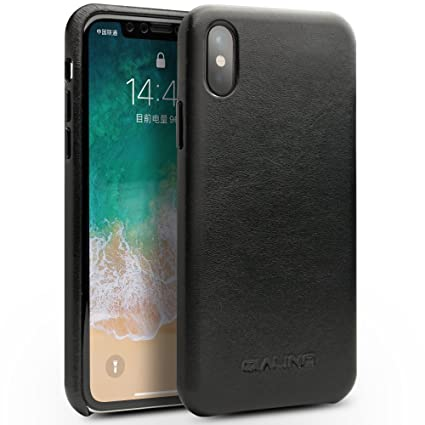 timeless design b52c8 39ab8 QIALINO Genuine Kangaroo Leather iPhone X Case, Superior Protective Back  Cover for Apple iPhone X, Black