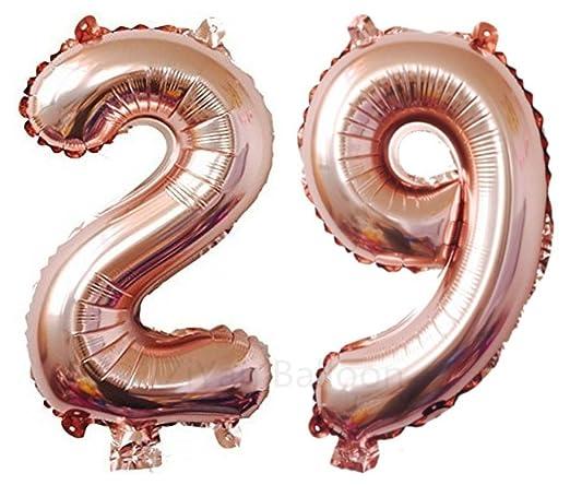 ZiYan Globos gigantes de número 29 de oro rosa, globos de ...